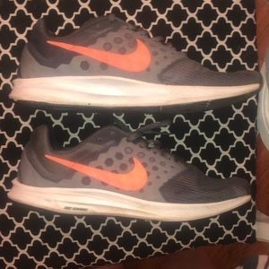 Grey Nikes with Coral Nike stripe